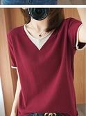 +N400# 棉麻韓版針織短袖女v領寬鬆顯瘦T恤夏秋半袖衫純色打底衫 &小咪的店&