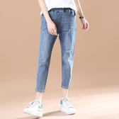 女裝復古水洗破洞牛仔褲女 休閒寬鬆哈倫褲