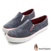 Hush Puppies 斜紋毛呢咖啡紗中性懶人鞋-深藍