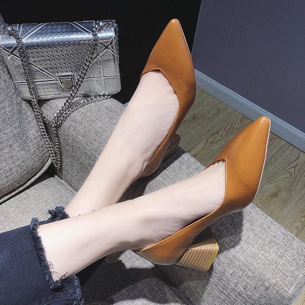 尖頭高跟鞋韓版時尚淺口單鞋女2019秋季新款簡約套腳百搭粗跟女鞋