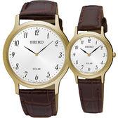 【台南 時代鐘錶 SEIKO】精工 SPIRIT 極簡風格太陽能腕錶對錶 SUP860P1 SUP370P1 皮帶 金/咖啡