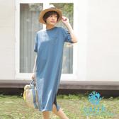 「Hot item」簡約素色胸前口袋連身裙/洋裝 - earth music&ecology