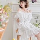 洋裝 渡假風吊帶一字領刺繡透膚長袖洋裝-Ruby s 露比午茶