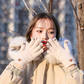 騎行手套可愛冬季保暖加絨韓版觸屏情侶毛線【英賽德3C數碼館】