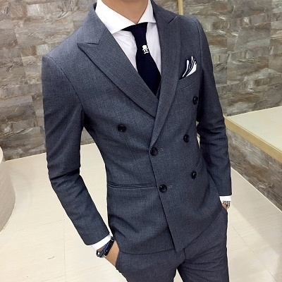 西裝套裝含西裝外套+西裝褲(三件套)-簡約素面紳士氣質商務男西服2色73hc13【時尚巴黎】