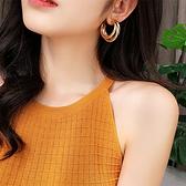 現貨不用等 韓國時尚幾何設計感金屬多層C字圓圈925銀針耳環 S93220批發價 Danica 韓系飾品