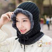 85折免運-帽子女秋冬天正韓潮毛線帽戶外騎行針織護耳帽學生圍脖一體保暖帽