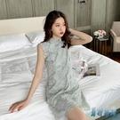 改良版旗袍式年輕款少女小清新蕾絲網紗小個子洋裝女夏2020新款XL3711【男神港灣】