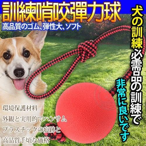 【培菓平價寵物網】  DYY》狗狗訓練耐咬啃咬穿繩實心橡膠彈力球隨機出貨