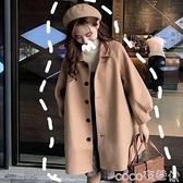 2021秋冬流行韓版小個子毛呢外套女復古港味寬鬆學生百搭日系大衣 coco