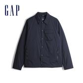 Gap男裝簡約純色按扣開襟翻領外套528306-經典新海軍藍