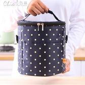 野餐袋 印刷圓點小清新飯盒包手提包飯袋防水鋁膜野餐便當圓桶保溫包「七色堇」
