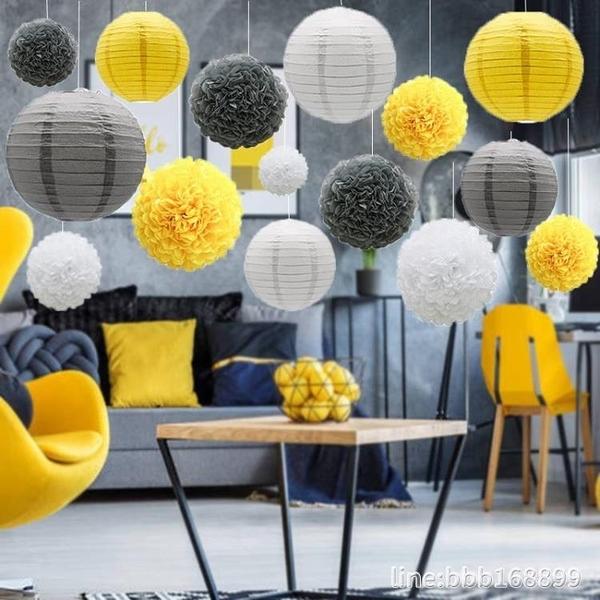 氣球 七夕節慶主題美陳櫥窗店面吊飾 紙燈籠花球套裝 生日酒店派對布置 瑪麗蘇DF