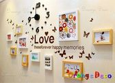 壁貼【橘果設計】10框含時鐘 進口實木相框牆 藍丁膠不傷牆設計 創意照片牆 相框組合壁貼 壁紙