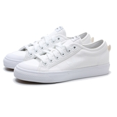 ADIDAS 帆布鞋 NIZZA TREFOIL 全白 經典 帆布 情侶 休閒鞋 男女 (布魯克林) FW5184