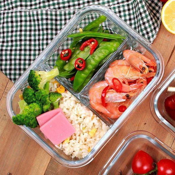 1升iCook帶3分隔玻璃飯盒微波爐帶隔層保鮮盒2分格便當密封碗「青木鋪子」