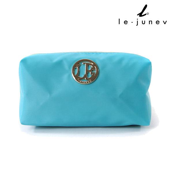 le-junev / L1183-Aqua Blue 金色圓牌彩虹化妝/手拿包-水藍色