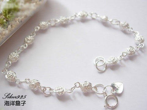 ☆§海洋盒子§☆ 精緻雙面雪白小玫瑰花純銀手鍊《925純銀》銀飾