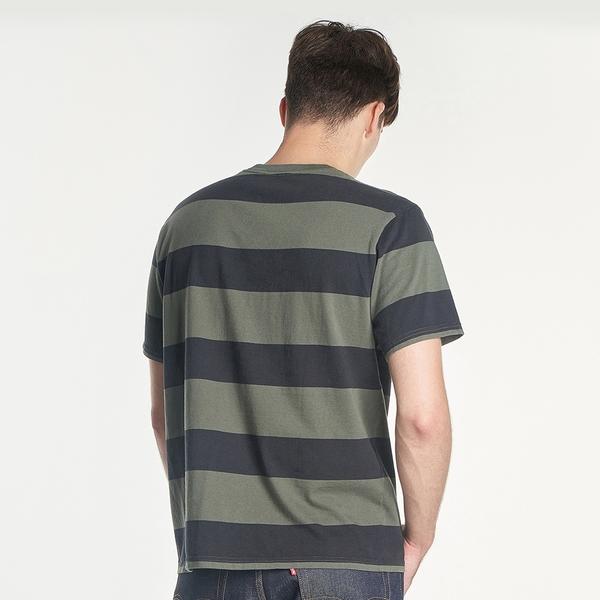 Levis 男款 短袖T恤 / 簡約迷你摩登復古Logo / 寬鬆休閒版型 / 橄欖綠條紋