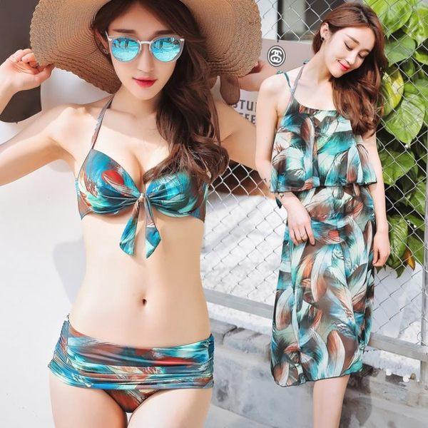 K.J時尚女郎瑪麗黛兒新款泳衣 時尚性感鋼托款分體裙式三件套泳衣 6625