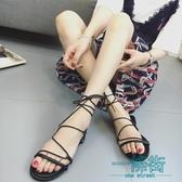 韓版低跟涼鞋女夏2018新款交叉綁帶復古羅馬鞋露趾學生平底涼鞋子