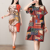 洋裝 連身裙 民族風女裝夏裝mm寬鬆隨機復古印花連衣裙顯瘦藏肉棉麻中長裙