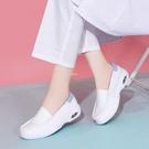 護士鞋女白色平跟氣墊軟底護士鞋春夏新款透氣防臭醫院護士工作鞋 快速出貨