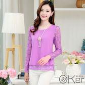 新款大碼韓版寬鬆長袖簍空蕾絲雪紡上衣 O-Ker 歐珂兒 LLA8585-C