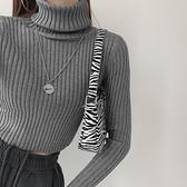 長袖毛衣 秋冬高領套頭加厚純色針織毛衣復古修身長袖打底衫高腰露臍上衣女 交換禮物