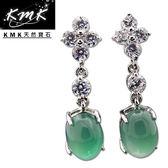 【KMK天然寶石】6.5克拉(南非辛巴威天然綠玉髓-耳環)