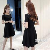洋裝2018夏季新品女裝正韓一字領短袖赫本a字小黑裙吊帶連身裙子S-4XL