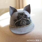 毛帽-繡花耳朵羊毛呢馬術帽棒球帽潮鴨舌帽羊毛帽冬帽子女韓版時尚百搭 莫妮卡小屋