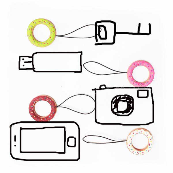 甜甜圈 造型 指環 掛繩 矽膠 防掉防搶 吊飾 手機掛繩 手機殼 飾品 可愛 iPhone 三星 HTC 通用