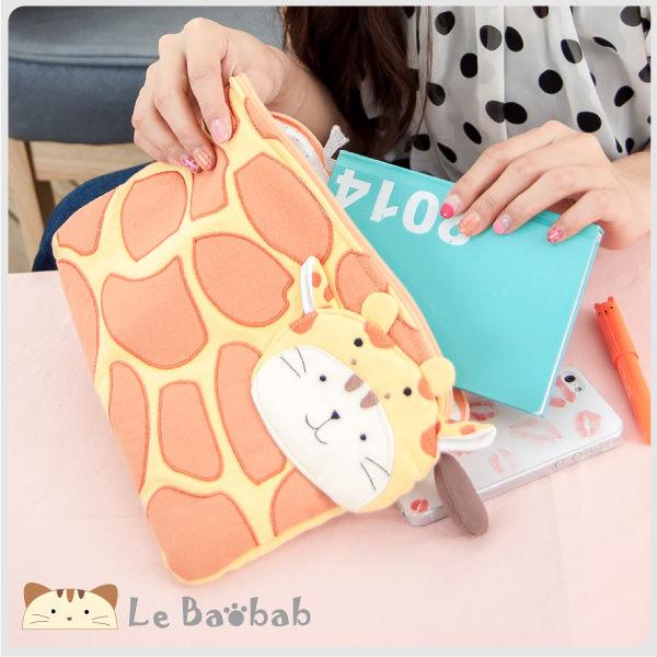 IPAD保護套~Le Baobab日系貓咪包啵啵貓森林裡的長頸鹿 Ipad mini保護套/拼布包包