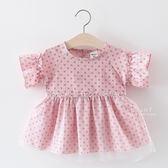 甜美波點薄紗寬鬆上衣 短袖上衣 連身裙 洋裝 裙子 童裝