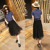 長裙 2205#夏季新款韓版牛仔洋裝 網紗拼接假兩件短袖長裙女裝潮 俏女孩