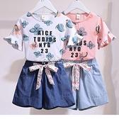 女童夏季套裝2021新款洋氣時尚兒童中大童韓版t恤牛仔短褲兩件套 快速出貨