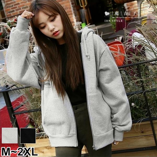 【QV2538】魔衣子-純色寬鬆輕刷毛連帽長袖外套
