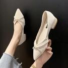 粗跟鞋 小香風單鞋仙女皮鞋2021春夏新款晚風溫柔低跟豆豆鞋尖頭粗跟瓢鞋