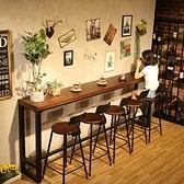 吧台桌 定制實木吧台桌家用陽台靠墻窄桌子長條桌奶茶店酒吧高腳桌椅組合商用【快速出貨】