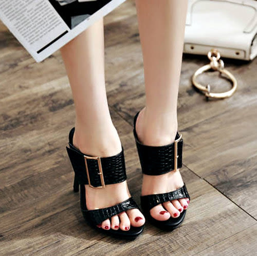 克妹Ke-Mei【ZT51736】womens shoes亮面皮革露趾大扣子性感細跟露指涼鞋