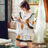 睡衣女夏季棉質短袖薄款兩件套裝韓版甜美可愛春秋少女家居服夏天 LR23958『麗人雅苑』