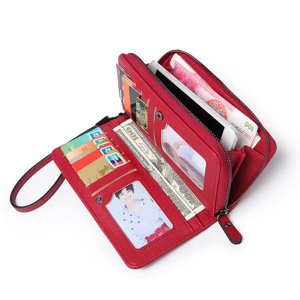 拉鏈百搭女士長款錢包 日韓潮流多卡位皮夾 大容量鳄魚紋長夾錢夾 女士長款長夾錢包手拿錢包