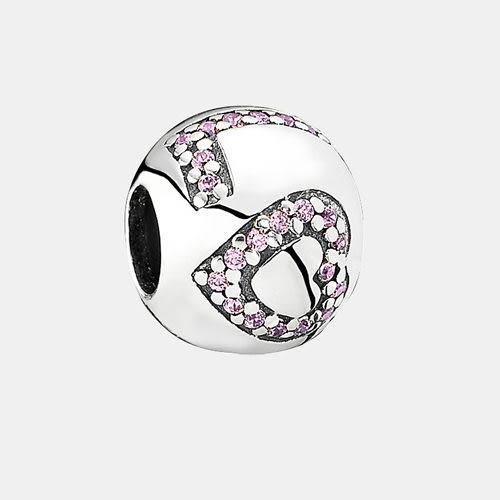 Pandora 潘朵拉丹麥時尚飾品 用愛包圍 LOVE粉紅鑽字串珠 墜飾 925純銀 手鍊手環 聖誕節 情人 禮物