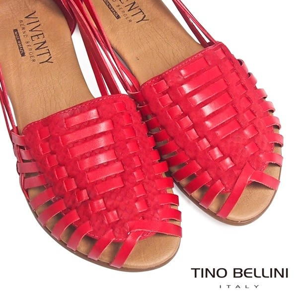 ★零碼出清★Tino Bellini 巴西進口古著感編織真皮魚口鞋 _紅 B63004A 2017SS 歐洲進口款