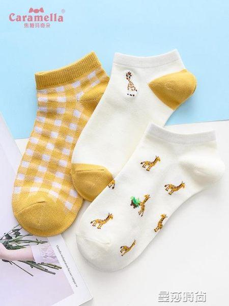襪子CARAMELLA襪子女短襪淺口春夏女士船襪可愛日繫學院風隱形襪棉襪 曼莎時尚