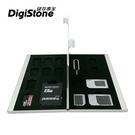 【現折50元+免運】DigiStone 手機SIM轉卡(四合一套件)+雙層超薄型Slim鋁合金1SD+8TF+SIM卡收納盒(銀)x1組