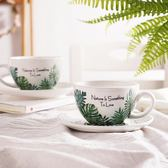 啡人類 龜背竹葉花式比賽壓紋拉花咖啡杯 大口徑卡布奇諾拿鐵杯 LR3293【Pink中大尺碼】