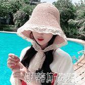 防蚊帽草帽女夏蕾絲邊秋季出游百搭日系綁帶韓版甜美遮陽大檐戶外漁夫帽 伊蒂斯女裝