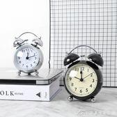 北歐金屬靜音夜燈打鈴鬧鐘臥室書桌臺式鐘時尚簡約鐘學生鬧鈴鐘錶艾美時尚衣櫥